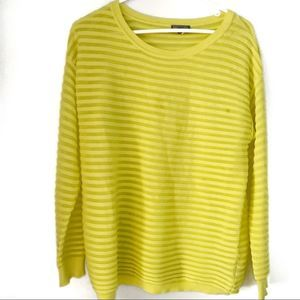 Vince Camuto Neon Yellow Long Sleeve Mesh Stripes
